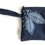 Leaf Pouch Bag - blue sequins.