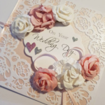 Pink and White Flowers Wedding Card with Pink and Detailed White Background