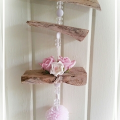 Driftwood Wall Hanging, with Pom Pom. Pink