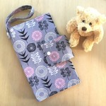 Nappy Wallet | grey and pink modern floral