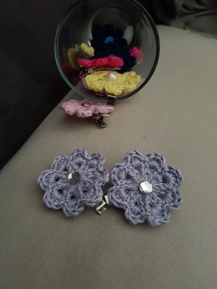 Crochet Flower Hair Clip Child Infant Toddler Baby Hairclip My