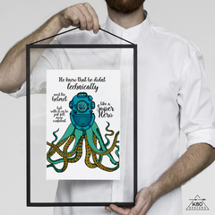 """""""Super Octopus"""" With a Helmet and a Story, Printable Illustration"""
