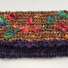 Raffia Embroidered Purse