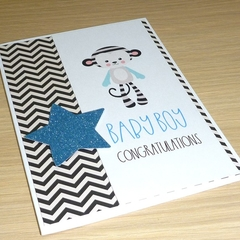 Baby Boy congratulations card - monkey