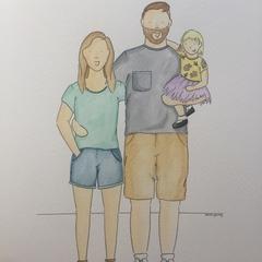 A4 Custom Family Portrait - 2 adults, 1 child.