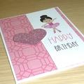 Girls Happy Birthday card - Pink Ballerina