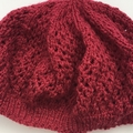 Maroon Lace Beret / Slouchy Beanie