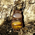 Agate and Tigers Eye Polymer Pendant