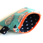 Coin purse, zippered pouch in blue and orange cotton fabric,hedgehogs