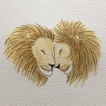 20x20cm 'Same Love' Portrait - 2 lion heads