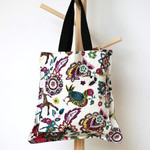 Tote bag in a floral animal cotton fabric