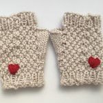 Off-white Fingerless Mittens with Embroidered Heart.