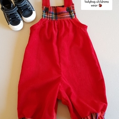Red tartan/vintage corduroy overalls. Size 000
