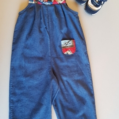 Warm and comfy corduroy overalls in blue with red/transport highlights. size 2
