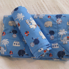 Newborn gift set - blanket and wrap. Circus elephants