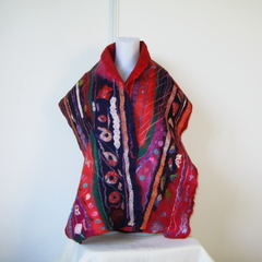 Felted Scarf Wool Silk   Red