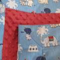 Newborn gift set - blanket and wrap. Circus elephants