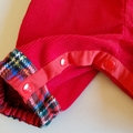 Red tartan/vintage corduroy overalls. Size 000