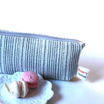 Zippered pouch, make up bag, bag organiser white and grey stripped woven fabric