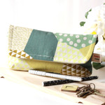 Kokka Japanese Green Geometric Clutch bag, handbag, pouch