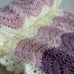 Crochet baby blanket | blush pink, plum, cream | baby shower gift, travel rug