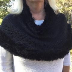 Fur trimmed alpaca cape / shawl