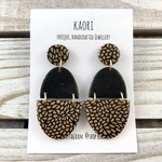 Handcrafted polymer clay stud dangle earrings in black and gold