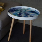 Resin8 Australia Side Table - White, Teal, and Sapphire Blue Resin