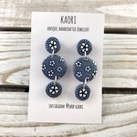 Handcrafted polymer clay earrings, blue and white floral