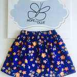 Skirt - Royal Blue with Flowers