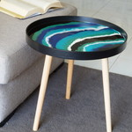 Resin Side Table - White, Teal, Jade Green, Black, and Sapphire Blue Resin
