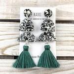 Tassel earrings- polymer clay earrings in monochrome abstract black white green