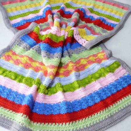 Crochet baby sampler blanket | colour stripes, shower gift, travel rug, keepsake