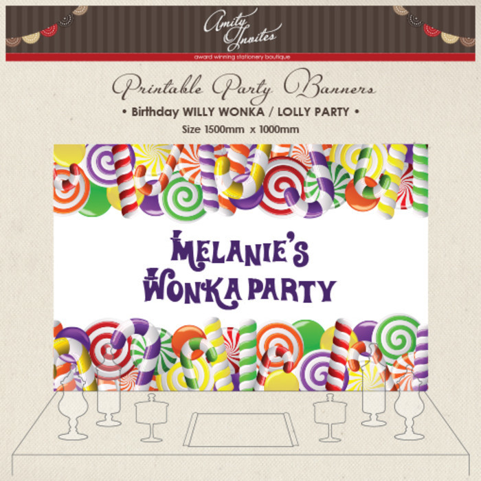Digital Printable Party Banner Buffet Dessert Table Willy Wonka