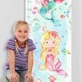 (Watercolour Mermaids) Personalised Fabric Height Chart 30x106cm