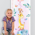 (Watercolour Jungle Animals) Personalised Fabric Height Chart 30x106cm