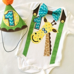 Birthday Jungle Animal Giraffe Theme Onesie and Party Hat 1st Birthday Boys