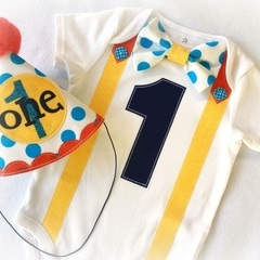 Circus Colors 1st Birthday Party Hat & Baby Onesie with name.