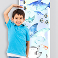 (Watercolour Ocean Creatures) Personalised Fabric Height Chart 30x106cm