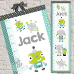 (Robot Whimsy Fabric Height Chart ) Personalised - 30x106cm