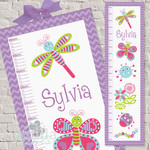 (Whimsical Bugs) Personalised Fabric Height Chart 30x106cm