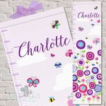 (Butterfly Garden) Personalised Fabric Height Chart 30x106cm