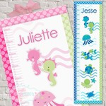 (Blue Sea) (Pink Sea) Personalised Fabric Height Chart 30x106cm