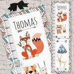 (Tribal Animals) Fabric Height Chart 30x106cm