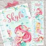 (Watercolour Mermaids) Personalised Fabric Height Chart 30x106cm