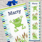 (Frogs) Personalised Fabric Height Chart 30x106cm