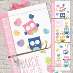 (Feathered Friends) Personalised Fabric Height Chart 30x106cm