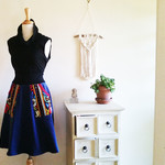 Blue Corduroy Skirt, Winter Skirt, Blue Aline Skirt, Corduruoy Pocket Skirt,
