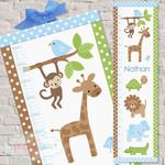 (Zoofari Animals) Personalised Fabric Height Chart 30x106cm