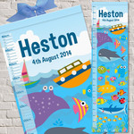 (Ocean Friends) Personalised Fabric Height Chart 30x106cm